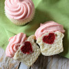 Vanilla Bean Heart Inside Mini Cupcakes