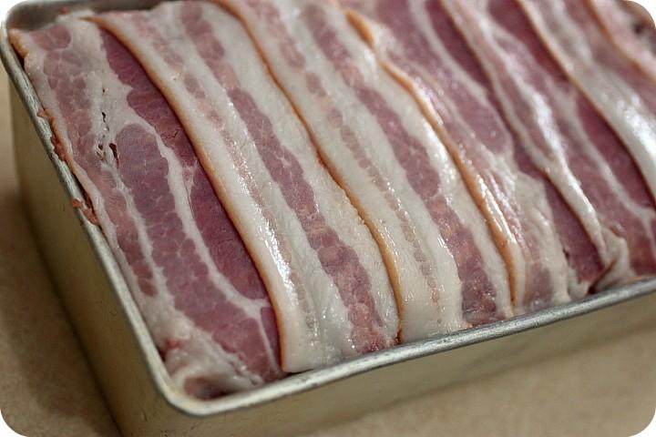 Bacon Wrapped Cheddar Meatloaf {mind-over-batter.com}