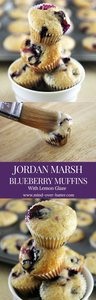 Mini Jordan Marsh Blueberry Muffins with Lemon Glaze -- www.mind-over-batter.com