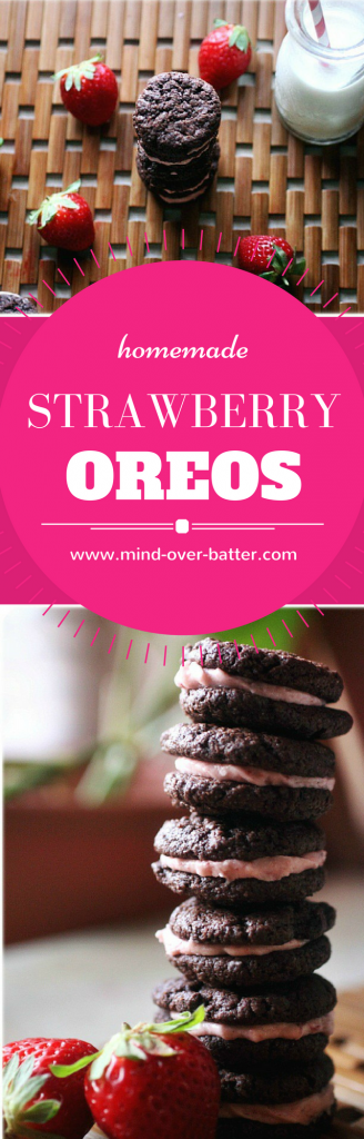 Homemade Oreo Cookies filled with a tart strawberry filling! WWW.MIND-OVER-BATTER.COM