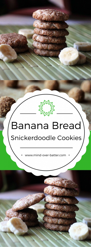Banana bread and snickerdoodles join forces in these Banana Bread Snickerdoodles! Crunchy spiced sugar coating gives way to a cake-like cookie bursting with banana flavor! Once you try one, you can't stop!  www.mind-over-batter.com
