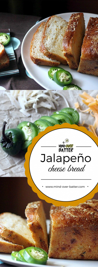 Your new favorite bread! This Jalapeño Cheese Bread is studded with chopped jalapeños and cheddar cheese! www.mind-over-batter.com
