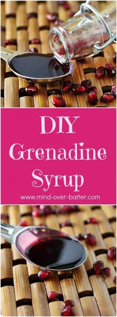 Did you know...? True grenadine is made with pomegranates? Yah, pomegranates! Up your cocktail and surprise your guests with this very easy, and super tasty Homemade Grenadine Syrup! www.mind-over-batter.com