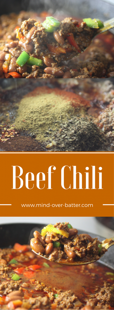 Need a dish of warm spicy comfort? Look no further than this Beef Chili! www.mind-over-batter.com