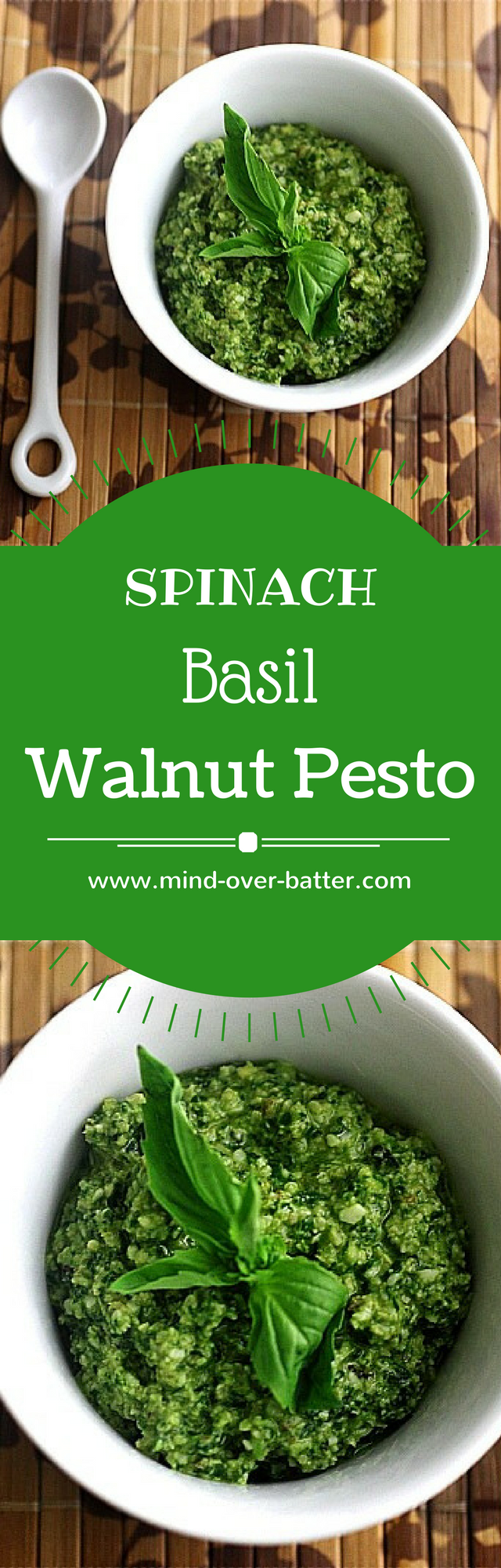 Spinach Basil Walnut Pesto -- www.mind-over-batter.com