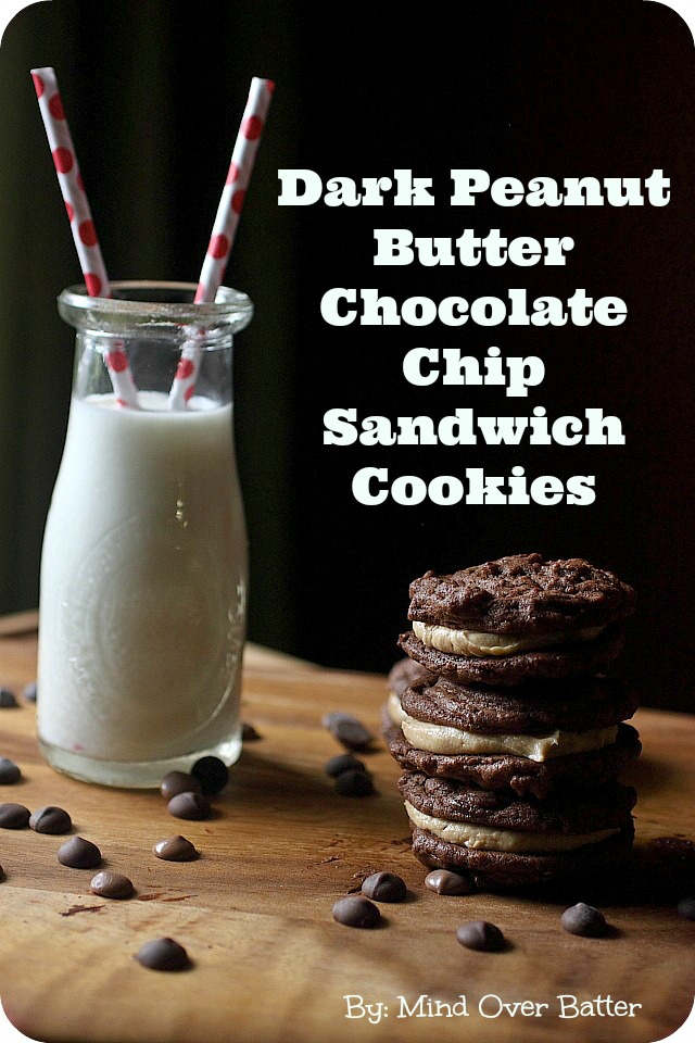Dark Peanut Butter Chocolate Chip Sandwich Cookies {mind-over-batter.com}