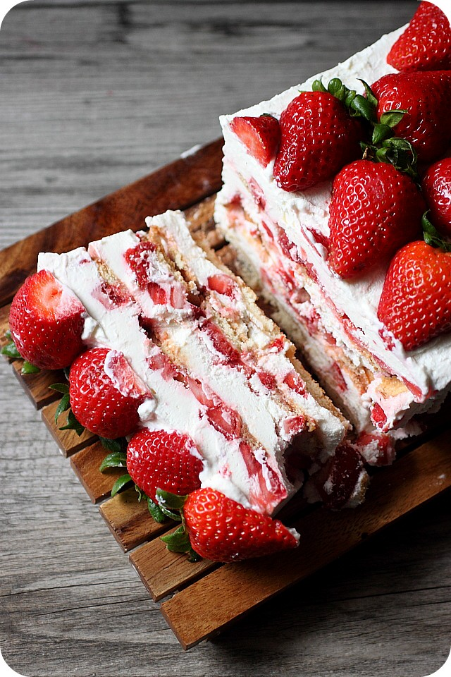 Strawberries & Cream Icebox Cake {Mind Over Batter}