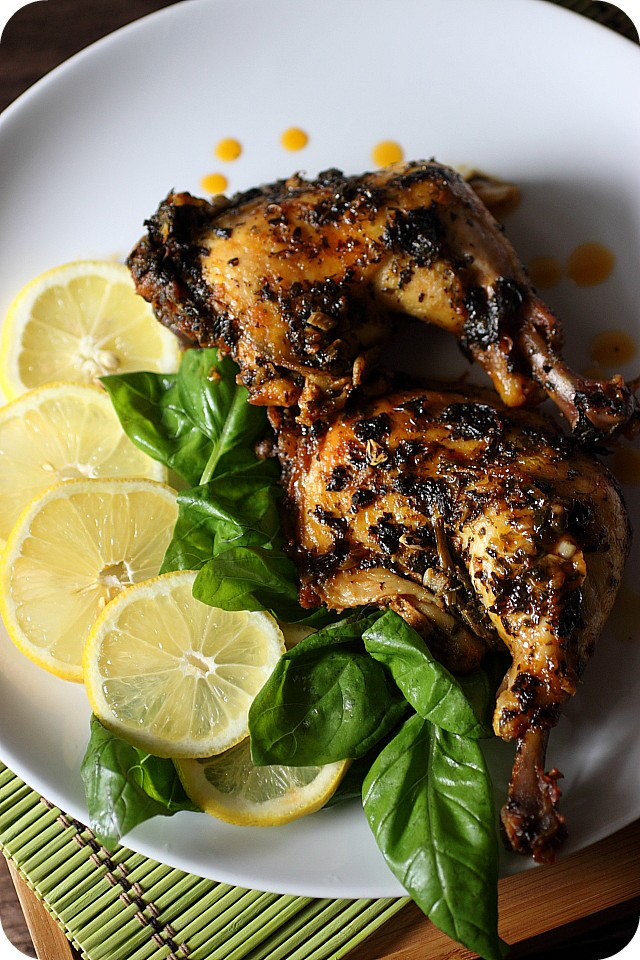 Basil Lemon Chicken Thighs {mind-over-batter.com}