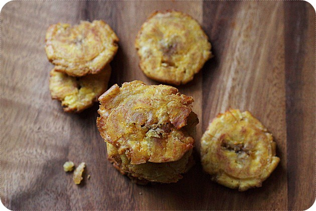 Garlic Clove and Salt Water Brined Tostones {mind-over-batter.com}