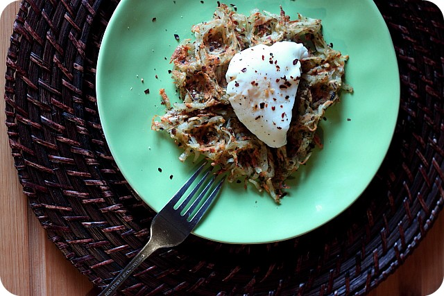 "Poached Egg & Potato ""Waffle"" {mind-over-batter.com}"