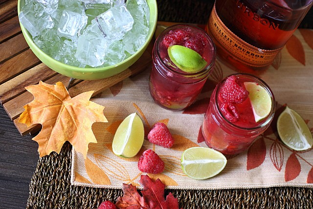 Raspberry Ginger Lime Bourbon Cocktail {mind-over-batter}