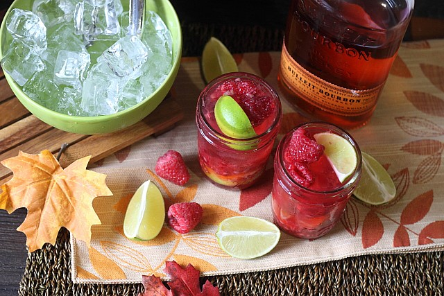 Raspberry Ginger Lime Bourbon Cocktail