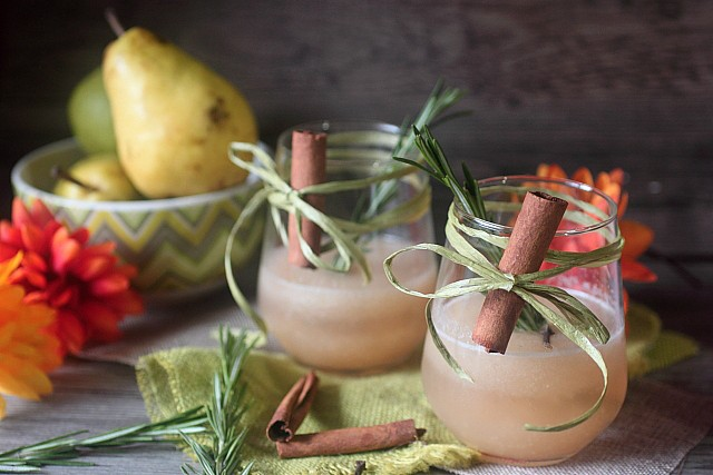 Rosemary Pear Spiced Rum Cocktail