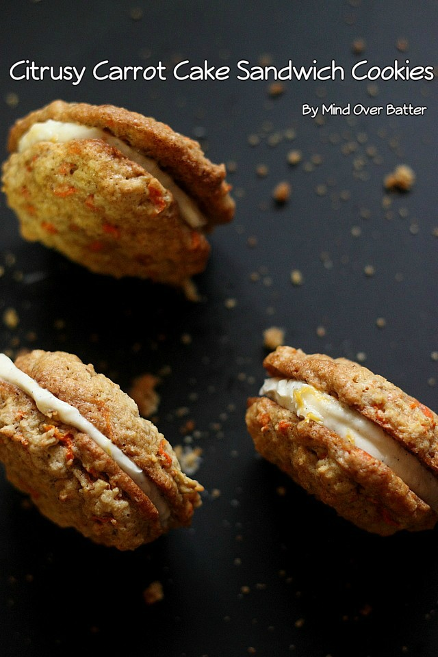 Citrusy Carrot Cake Sandwich Cookies {mind-over-batter.com}
