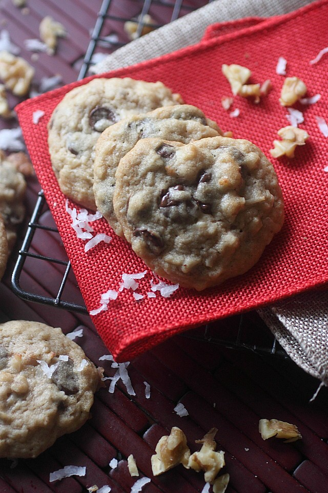 Coconut Chocolate Chip Cookies {mind-over-batter.com}