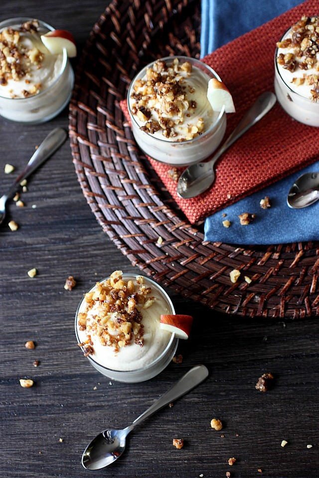 No Bake Apple Cheesecake Minis with Candied Walnuts {mind-over-batter.com}
