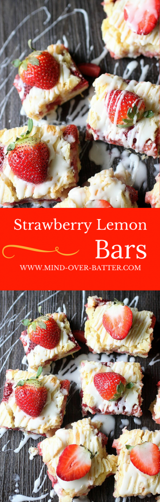 Strawberry Lemon Bars -- www.mind-over-batter.com