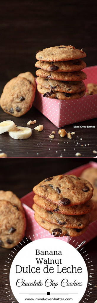 Banana Walnut Dulce de Leche Chocolate Chip Cookie Recipe -- www.mind-over-batter.com