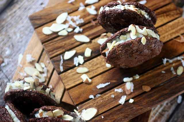 Almond Joy Brownie Sandwich Cookies {mind-over-batter.com}