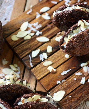 Almond Joy Brownie Sandwich Cookies {mind-over-batter.com}