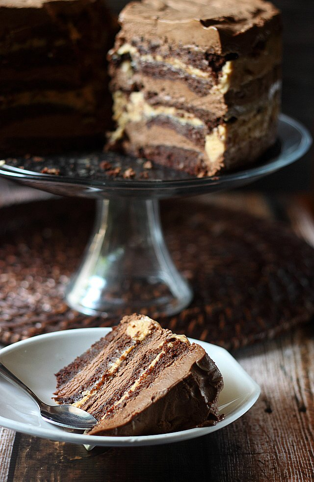 cake with alternating layers of rich, creamy chocolate and caramel ...