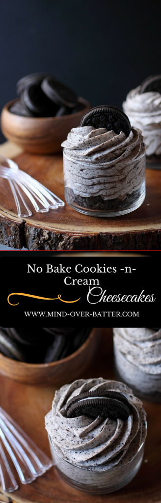 No Bake Cookies -N- Cream Cheesecakes -- www.mind-over-batter.com