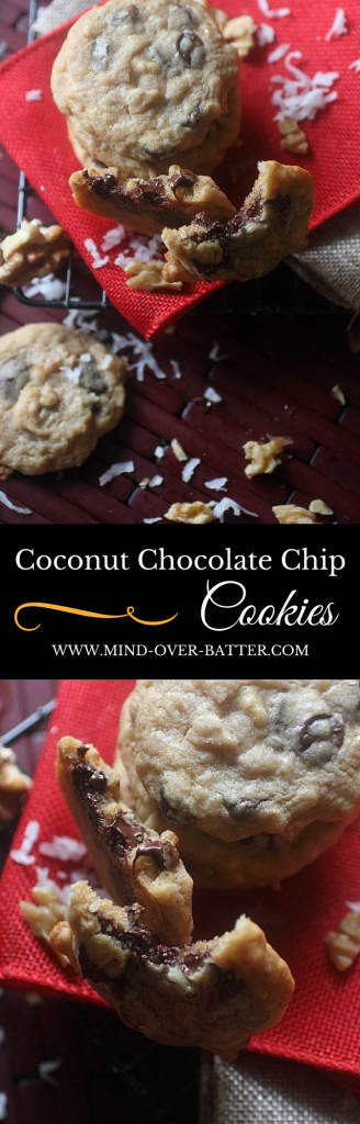 Coconut Chocolate Chip Cookies -- www.mind-over-batter.com