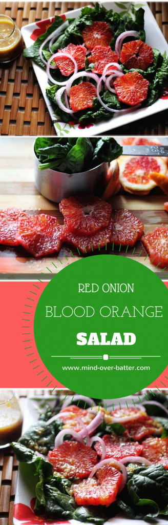 Blood oranges, softened onions, and spinach  make up this deliciously healthy salad. www.mind-over-batter.com
