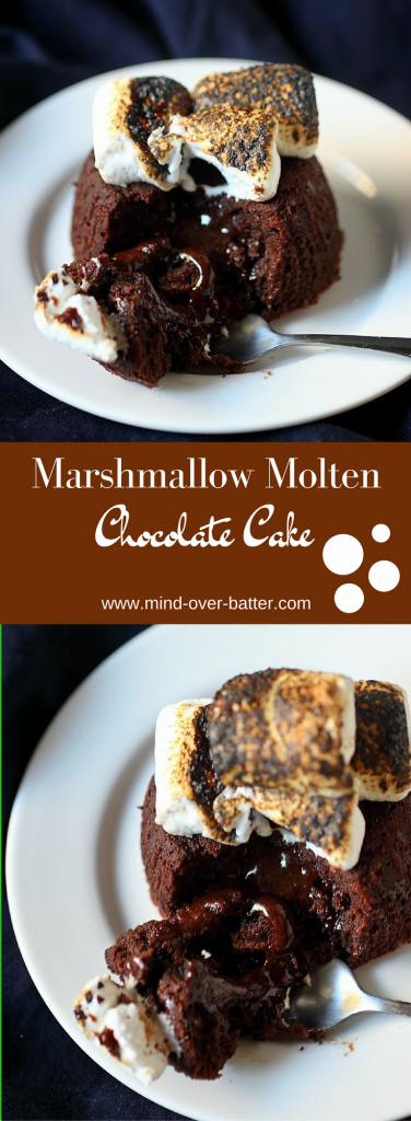 Marshmallow Molten Chocolate Cake Recipe --  www.mind-over-batter.com