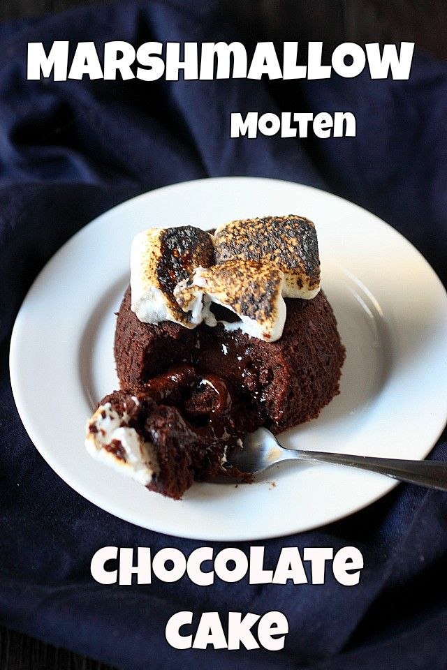 Marshmallow Molten Chocolate Cake {mind-over-batter.com}