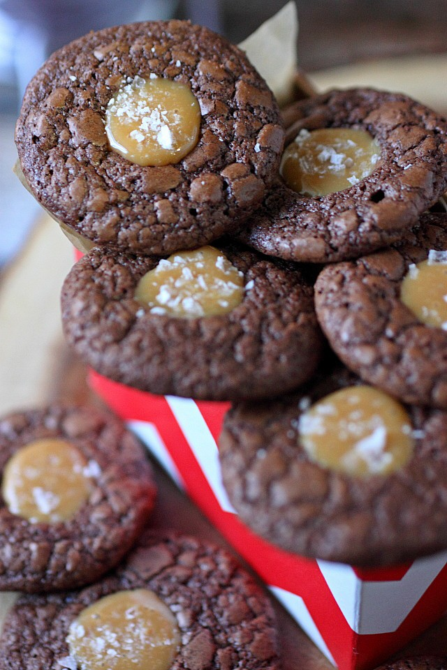Salted Caramel Chocolate Thumbprints {mind-over-batter.com}