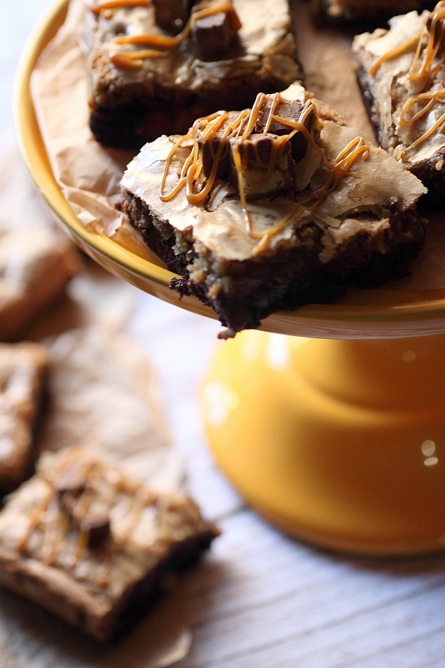 Snickers Double Decker Brownies {mind-over-batter.com}