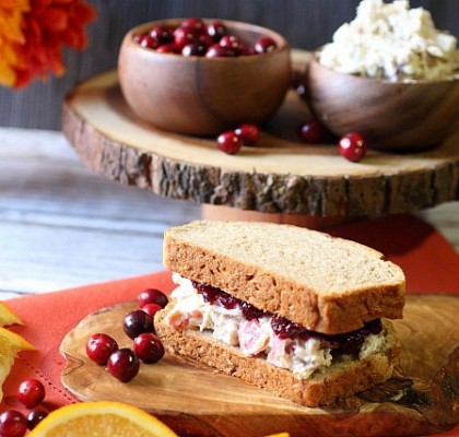 Cranberry Jam Chicken Salad Sandwich {mind-over-batter.com}