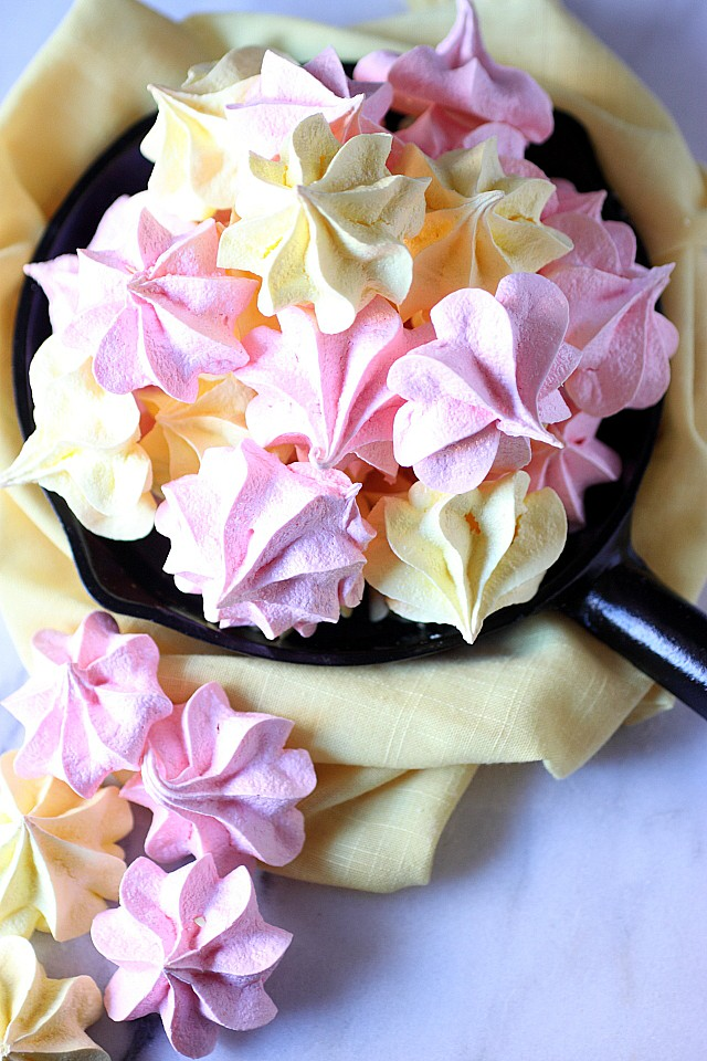 Jell-O Meringues Cookies! Mounds of pillow soft meringue is whipped to perfection, enhanced with your favorite Jell-O flavor, and piped into pretty shapes! These Jell-O Meringues are fun to make and even more fun to eat! {mind-over-batter.com}