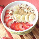 Strawberry, Banana, Almond Flax Seed Smoothie Bowl
