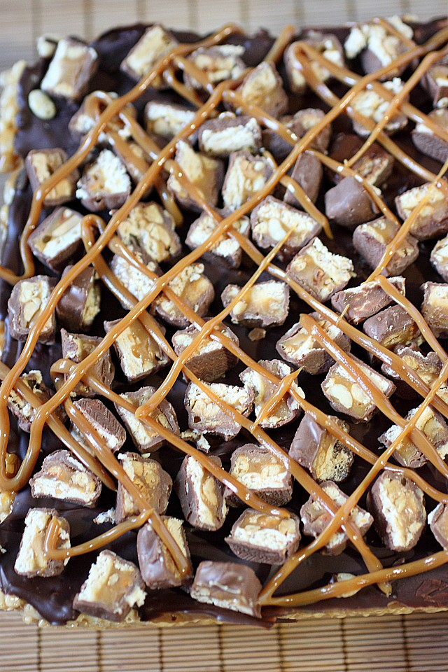 Snickers Rice Krispies Treats {mind-over-batter.com}