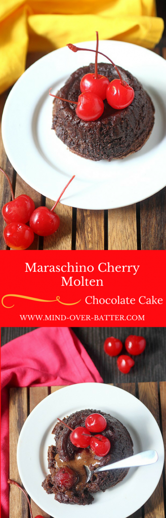 Maraschino Cherry Molten Chocolate Cake -- www.mind-over-batter.com