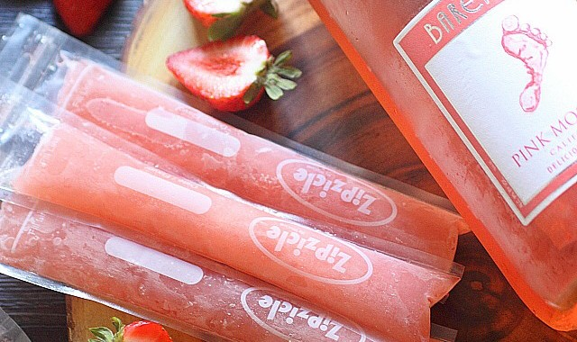 Strawberry Moscato Ice Pops