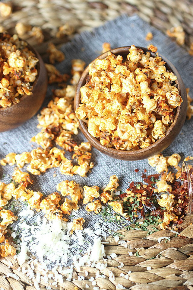 Ready for the best mashup in the universe? Pizza Popcorn!! All the flavors in pizza – Tangy tomato, aromatic basil, oregano, garlic powder and crushed pepper flakes are baked into popped corn kernels. And of course, vast amounts of cheese – Because pizza must always have cheese! Try this addicting Pizza Popcorn today! www.mind-over-batter.com
