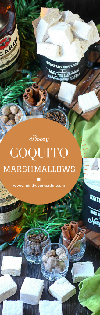 Make your hot chocolate super festive with these coquito marshmallows! With warm spices, coconut flavors, and a great dose of dark rum - You'll float these in your hot chocolate every day 'till January! www.mind-over-batter.com