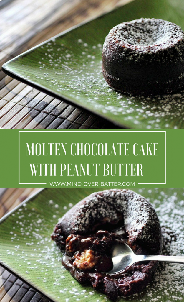 Molten Lava cake with a silky sweet peanut butter filling! www.mind-over-batter.com