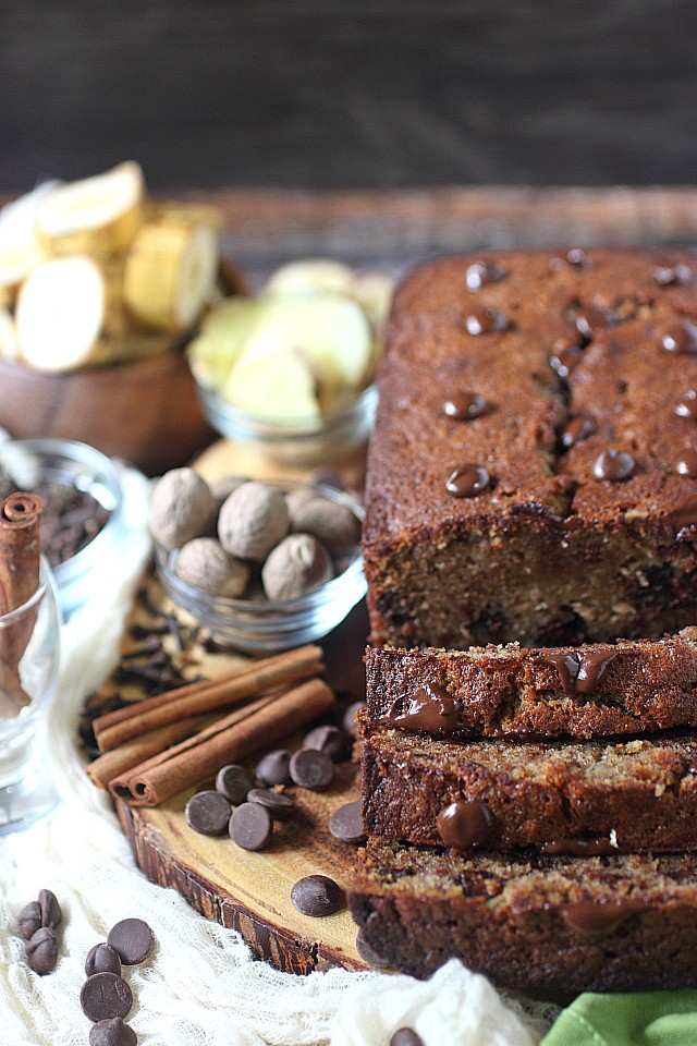 Classic Banana Bread with a twist! Very easy to make, this Spiced Chocolate Chip Banana Bread is sprinkled with warm spices and studded with rich chocolate chips. Admit it, you want a slice! www.mind-over-batter.com