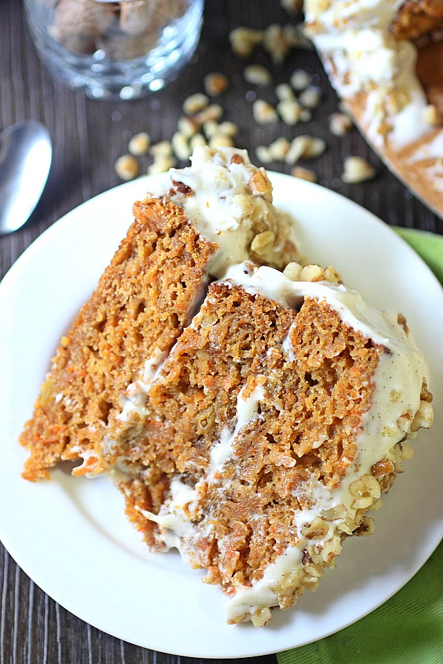 Add this super delicious Pumpkin Carrot cake to your To Do list! This super moist cake is generous in the pumpkin puree, grated carrot, and warm spice department! Frosted with a super silky cream cheese frosting, and topped with toasted walnuts – It will be hard to stop at one slice! Tempted? You should be! www.mind-over-batter.com