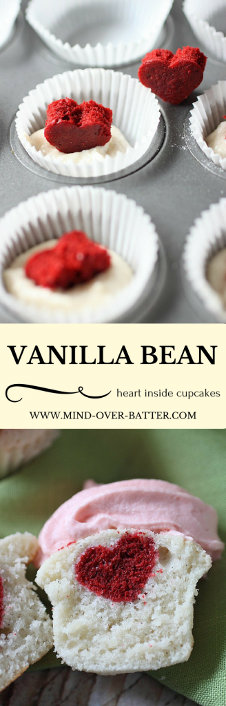 Moist Mini Vanilla Bean Cupcakes with a tiny Red Velvet Heart surprise inside!! Is your heart swelling with love? www.mind-over-batter.com