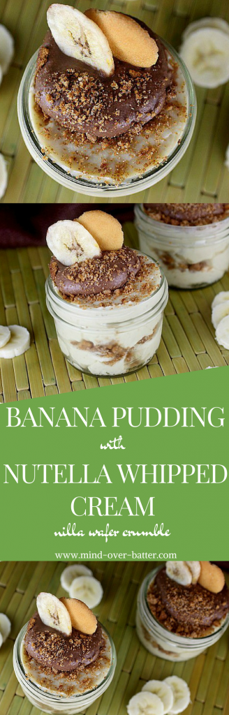 This pudding is the real deal, y'all! Silky Banana pudding piped with a lightly sweetened Nutella whipped cream, and dusted with a Nilla Wafer Crumble! www.mind-over-batter.com