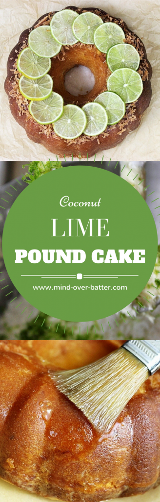 Tender pound cake with sweetened flaked coconut, zesty limes, brushed with a tart lime glaze. This cake is like ocean breeze and palm trees. www.mind-over-batter.com