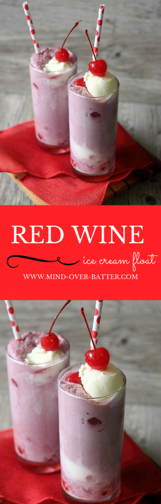 Sparkling red wine, maraschino cherries, and vanilla ice cream. These 3 ingredients make up this deliciously boozy ice cream float. Perfect for your next Girls Night! www.mind-over-batter.com
