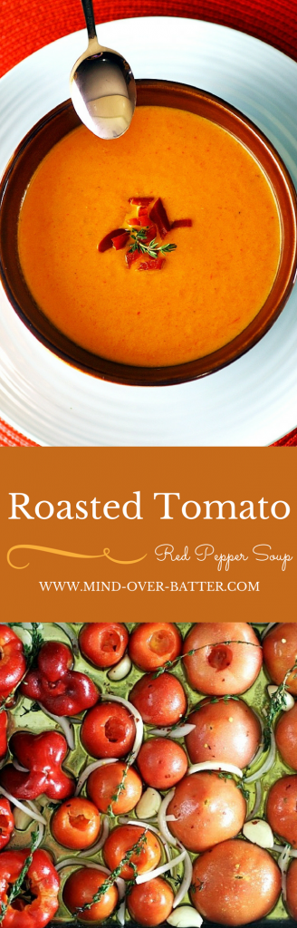 Roasted Tomato And Red Pepper Soup -- www.mind-over-batter.com
