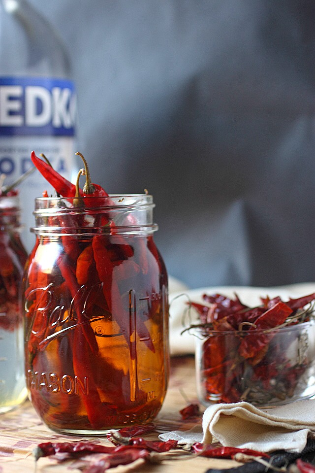 Chile de árbol Infused Vodka -- www.mind-over-batter.com