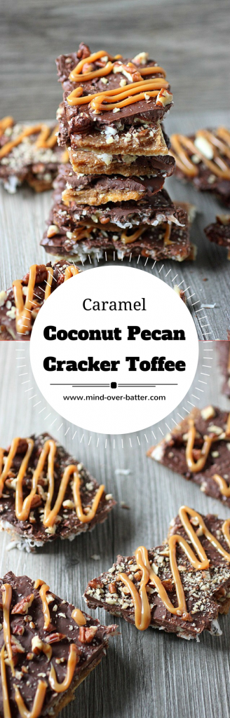 Caramel Coconut Pecan  Cracker Toffee -- www.mind-over-batter.com